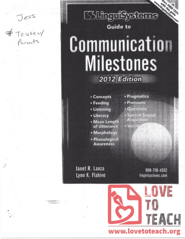 Communication Milestones