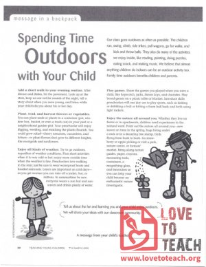 Message in a Backpack - Spending Time Ourdoors with your Child