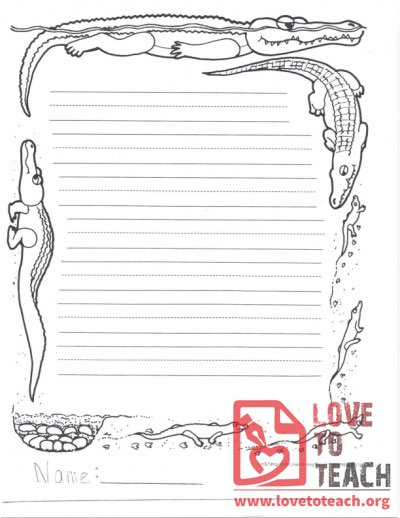 Lined Writing Paper Alligator