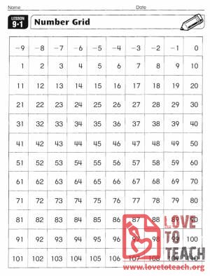 Number Grid -9 to 110
