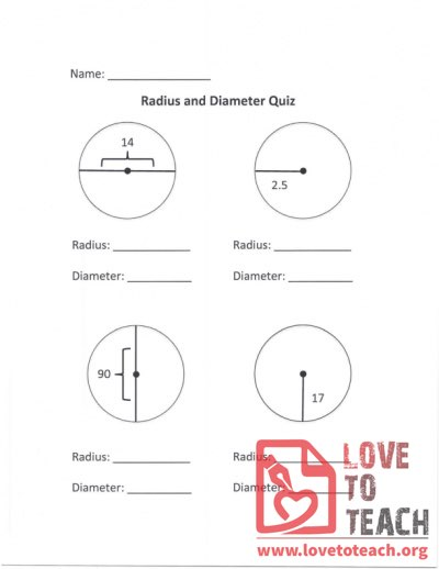 Radius and Diameter Quiz (B)