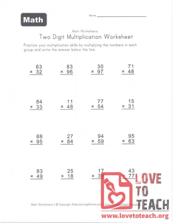 Two Digit Multiplication Worksheet (A) With Answers