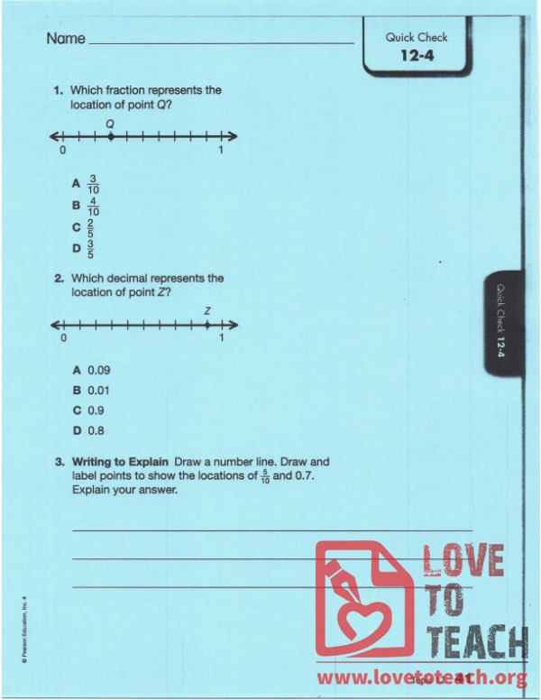 Fractions and Decimals Worksheet - With Answers
