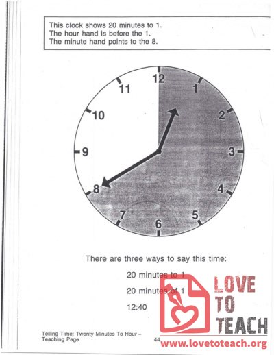 Telling Time - Twenty Minutes To Hour - Teaching Page