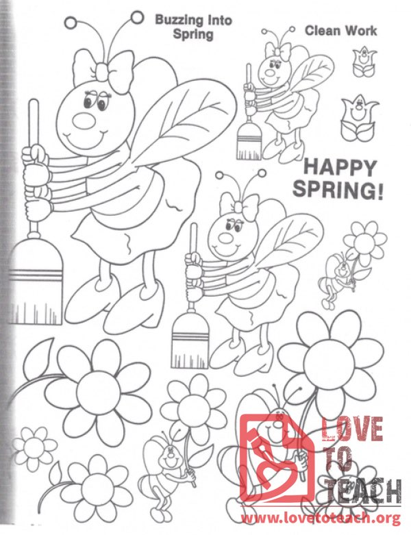 Happy Spring! Bees Coloring Page