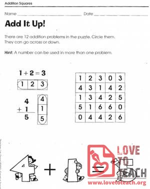Addition Squares Worksheets