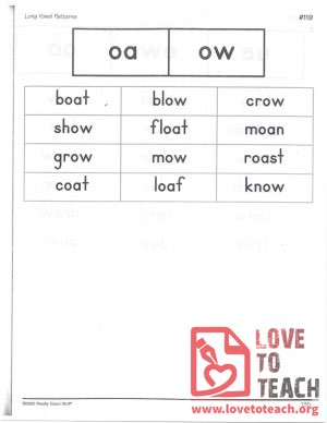 Long Vowel Patterns - oa, ow