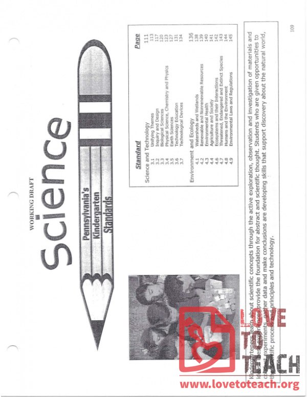 Science - Pennsylvania Standards for Kindergarten - December 2005