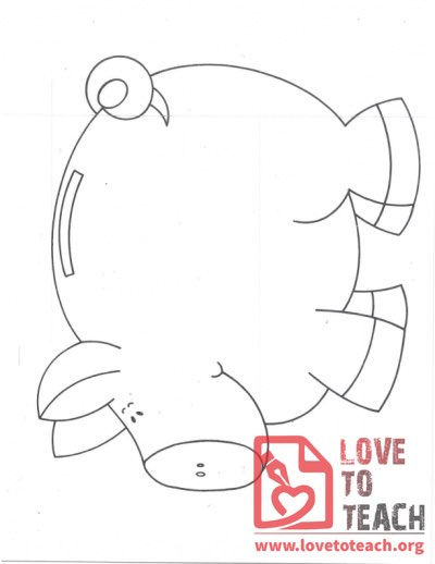 By subject education resources free teaching resources for Piggy bank coloring page