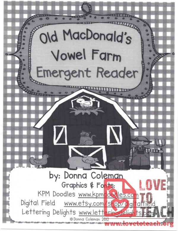 Old MacDonald's Vowel Farm - Emergent Reader