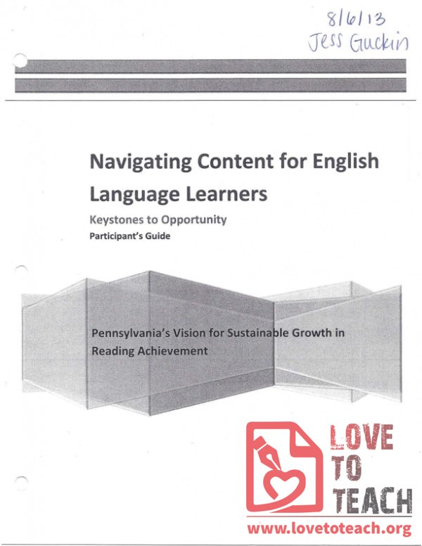 Keystones to Opportunity - Participant's Guide - Navigating Content for English Language Learners