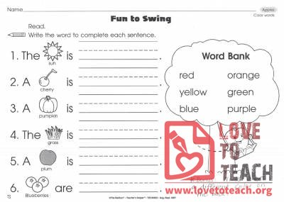 Color Words: Fun to Swing