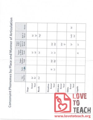 Consonant Phonemes by Place and Manner of Articulation
