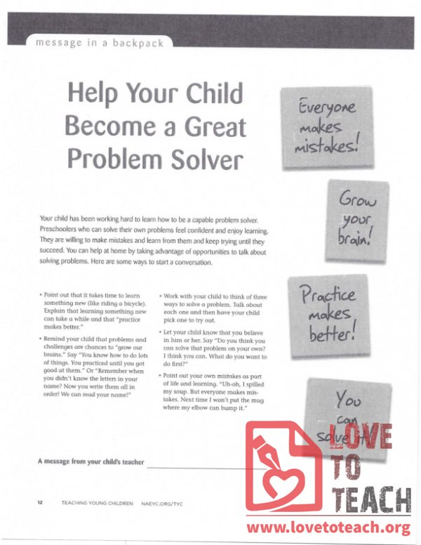 Message in a Backpack - Help Your Child Become a Great Problem Solver