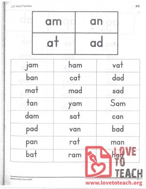 CVC Word Families - am, an, at, ad