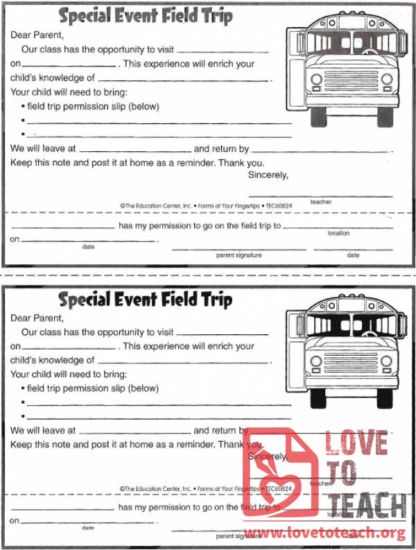 Field Trip Permission Form Free Teaching Resources