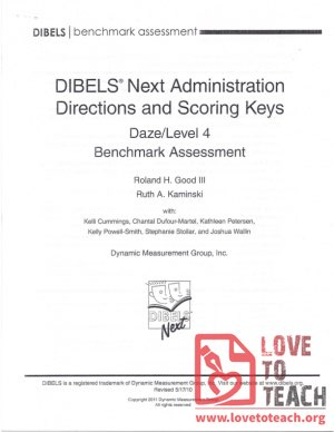 DIBELS Next Administration Directions and Scoring Keys - Daze Level 4 Benchmark Assessment