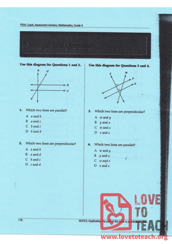 Parallel and Perpendicular Lines - Sample Questions