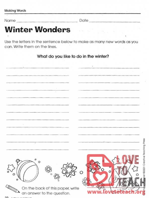 Winter Wonders Word Activity