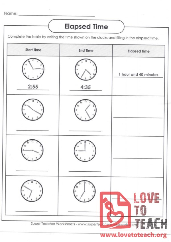 Elapsed Time By Clock Face A With Answer Key Lovetoteach