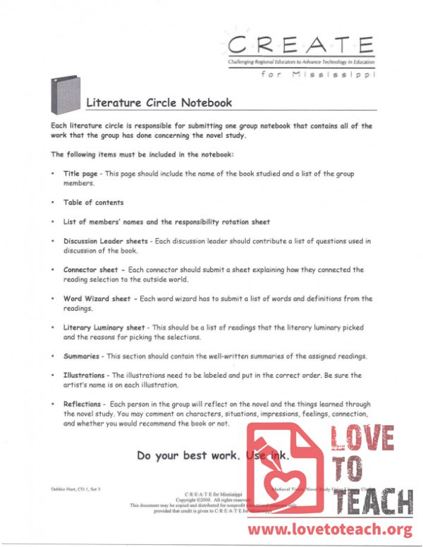 Literature Circle Notebook