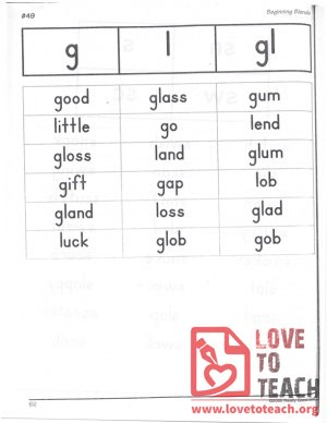 Beginning Blends - g, l, gl