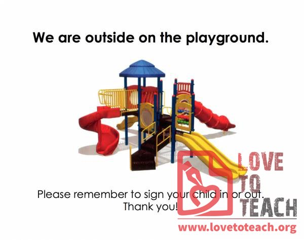 Outside on the Playground Sign