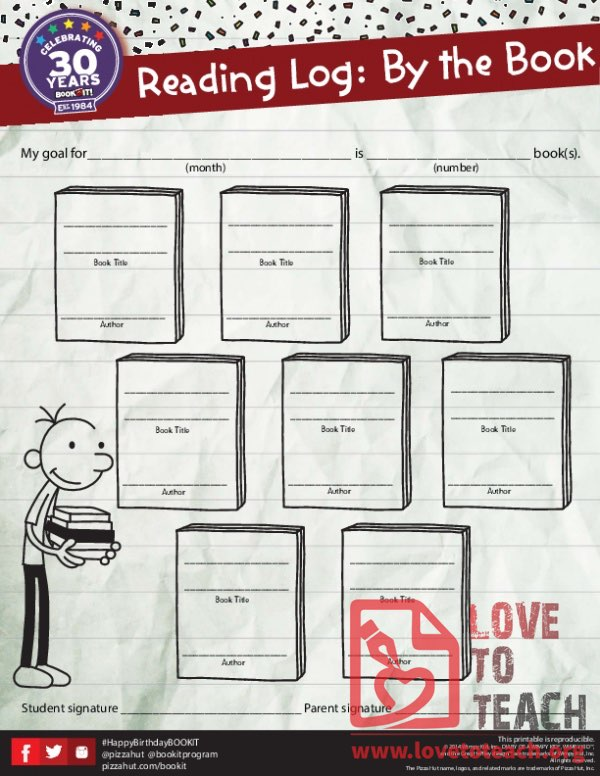 Diary of a Wimpy Kit Book Reading Log