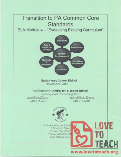 Transition to PA Common Core Standards - Evaluating Existing Curriculum