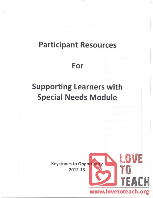 Keystones for Opportunity - Participant Resources - Supporting Learners with Special Needs