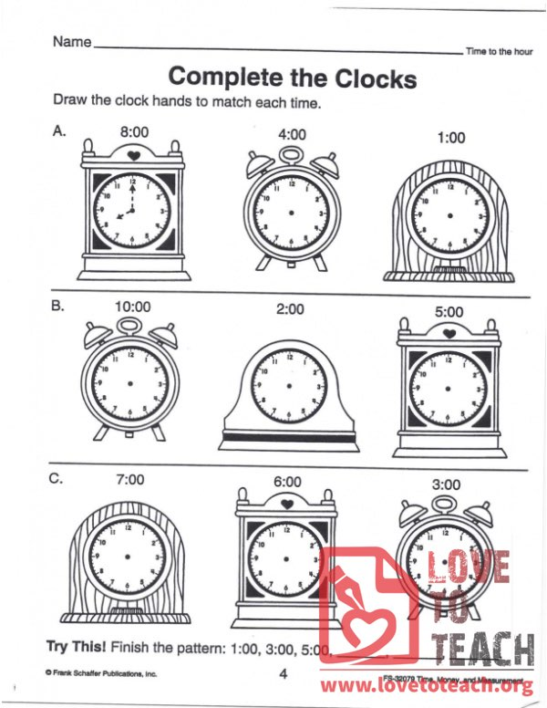 Complete the Clocks