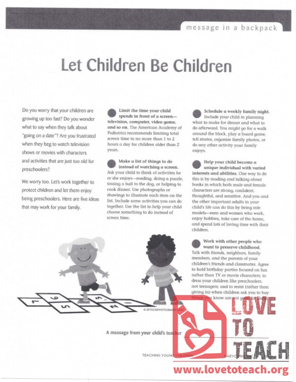 Message in a Backpack - Let Children Be Children