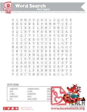 Wordsearch about dragons