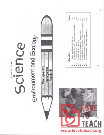 Science - Environment and Ecology - Pennsylvania Standards for Kindergarten - December 2005