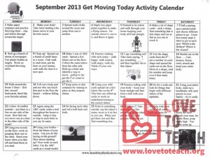 September 2013 Get Moving Today Activity Calendar