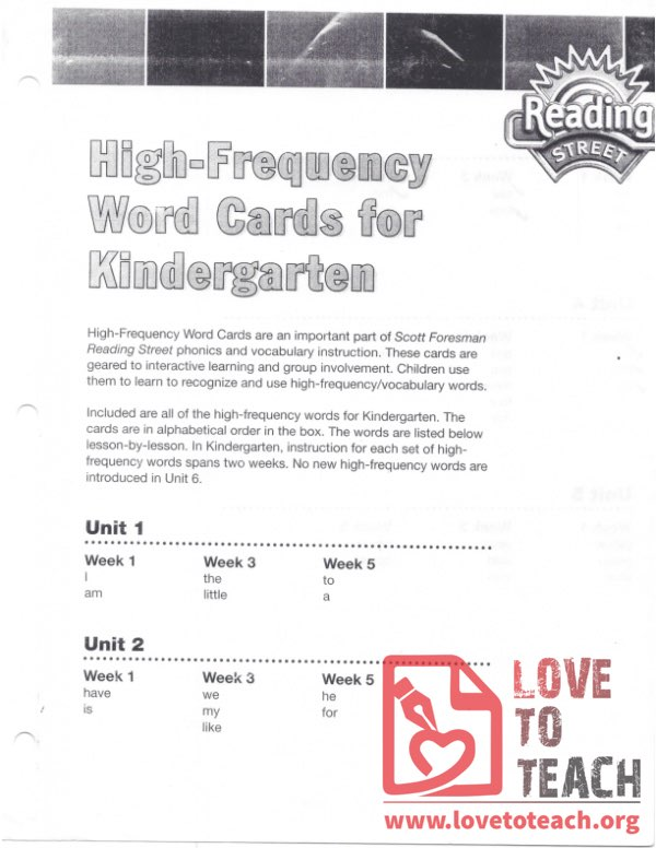 High Frequency Word Cards for Kindergarten