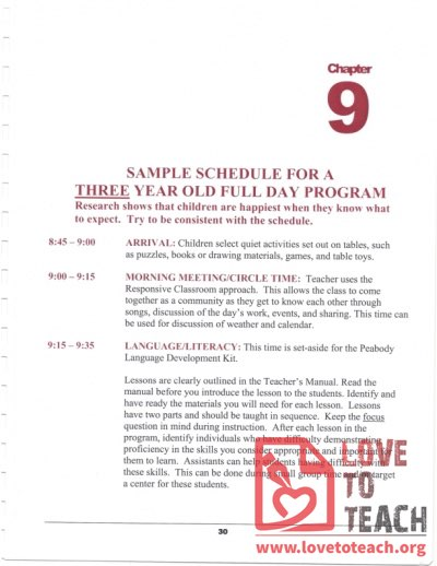 Preschool Curriculum Handbook - Sample Schedule for a Three Four Year Old Full-Day Program