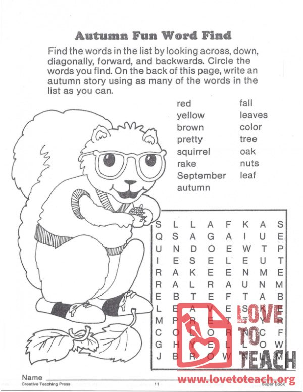 Autumn Fun Word Find