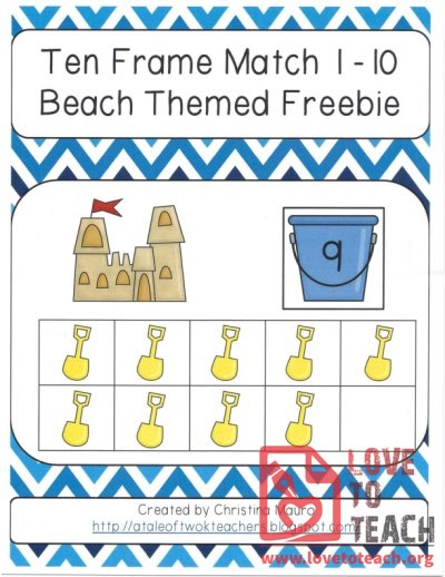Ten Frame Match 1-10 Beach Themed Freebie