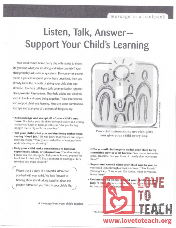Message in a Backpack - Listen, Talk, Answer - Support Your Child's Learning