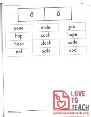 Short and Long Vowels - o