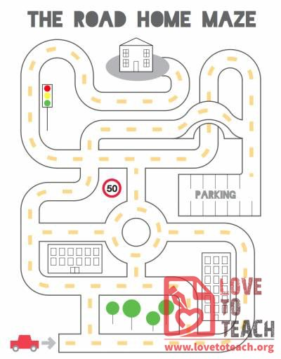 Road Home Maze on Free Earth Day Printables Children