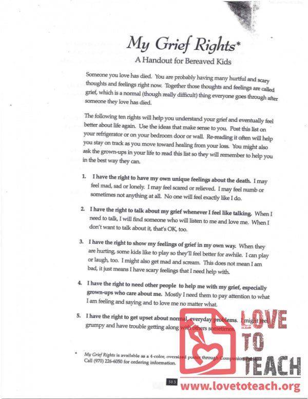 My Grief Rights - A Handout for Bereaved Kids