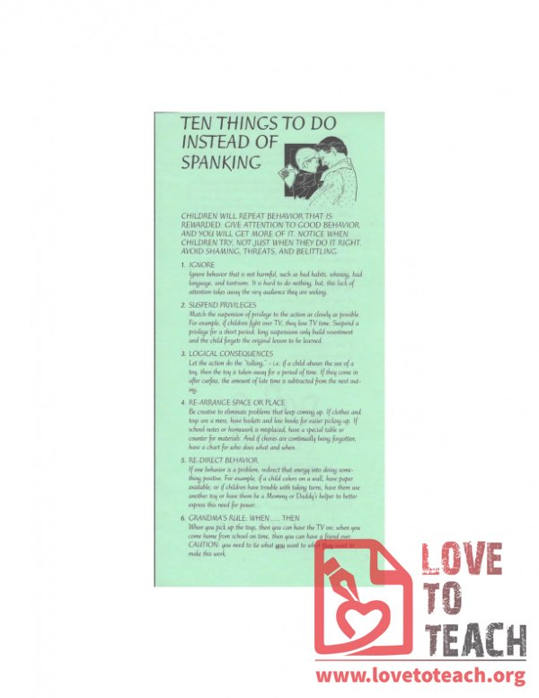 Ten Things To Do Instead Of Spanking