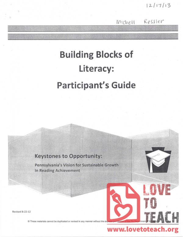 Keystones to Opportunity - Participant's Guide - Building Blocks of Literacy