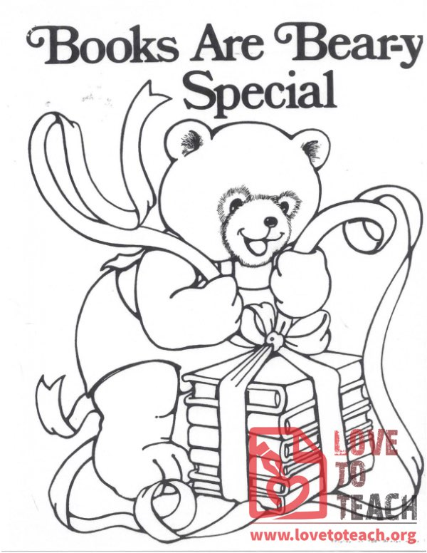 Books are Bear-y Special Coloring Page