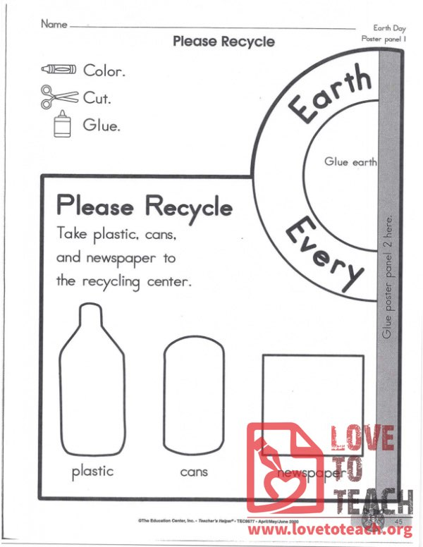 Please Recycle Worksheet Earth Day
