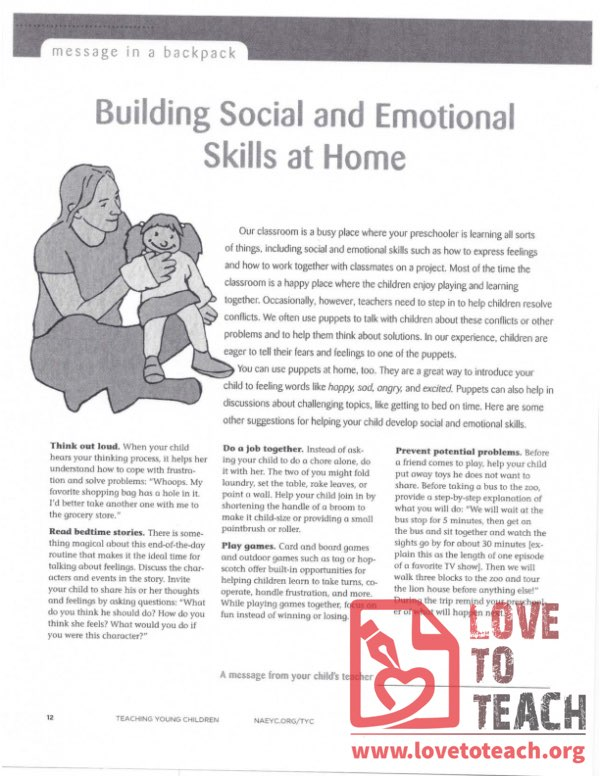 Message in a Backpack - Building Social and Emotional Skills at Home