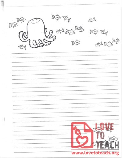 Lined Writing Paper Octopus