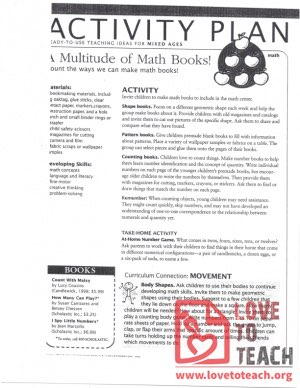 Activity Plan (mixed ages) A Multitude of Math Books